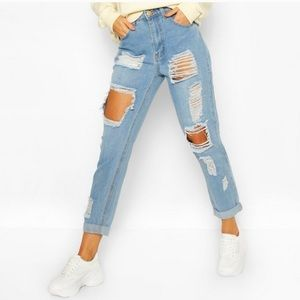 Boohoo high rise distressed skinny jeans 2